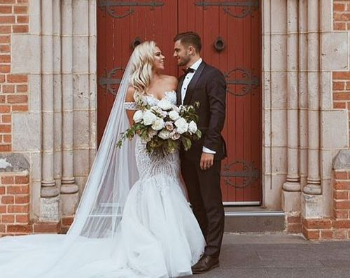Josh Risdon and wife Ebony on their wedding day late last month. Picture: Instagram
