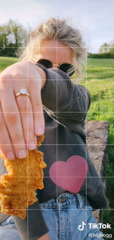 A delicious piece of chicken has been used for the couple's official ring pic.