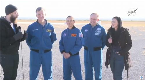 NASA spokesperson Dan Huot, Boeing astronaut Chris Ferguson, NASA astronauts Nicole Mann and Mike Fincke, and Boeing spokesperson Jessica Landa