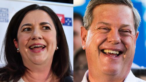 Queensland Premier Annastacia Palaszczuk, and Opposition Leader Tim Nicholls. (AAP)