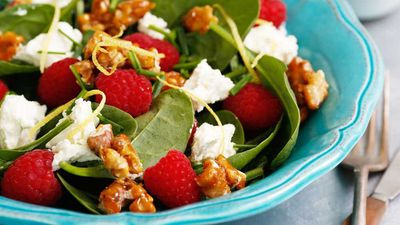 "Recipe: <a href=""http://kitchen.nine.com.au/2016/12/12/14/19/raspberry-spinach-and-persian-feta-salad-with-salted-candied-walnuts"" target=""_top"">Raspberry, spinach and Persian feta salad with salted candied walnuts</a>"