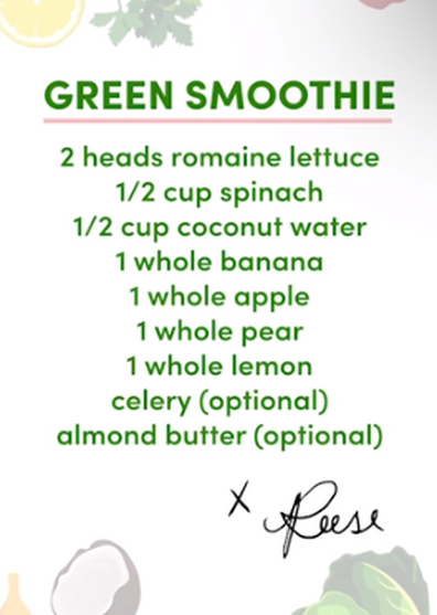Reese Witherspoon green smoothie recipe card