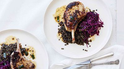 "<a href=""http://kitchen.nine.com.au/2016/05/16/17/16/mustard-and-sage-pork-cutlets-with-red-wine-cabbage-and-lentils"" target=""_top"">Mustard and sage pork cutlets with red wine cabbage and lentils<br> </a>"