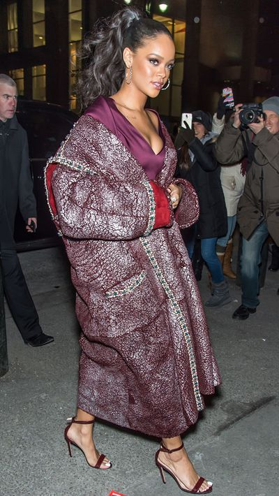 RiRi wore this Zac Posen coat to his recent NYFW show
