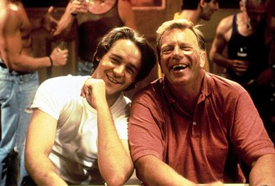 Jack Thompson, Russell Crowe, The Sum of Us, movie, on set