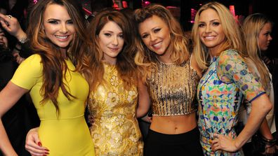 Nicola Roberts, Nadine Coyle, Kimberley Walsh and Sarah Harding of Girls Aloud attend their London Ten - The Hits Tour after party at Whisky Mist Club on March 02, 2013 in London, England
