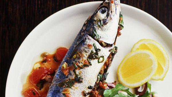 Walnut-stuffed mackerel with rocket and black-eyed pea salad