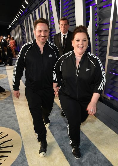 Melissa McCarthy and Ben Falcone attends the 2019 Vanity Fair Oscar Party hosted by Radhika Jones at Wallis Annenberg Center for the Performing Arts on February 24, 2019 in Beverly Hills, California.