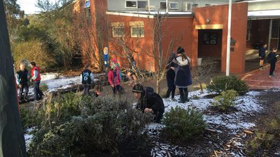 Children at Woodend Primary School, halfway between Melbourne and Bendigo, were delighted to play in the snow this morning. (Diane Cardinal)