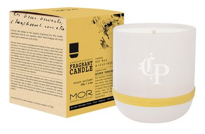 """<a href=""""http://www.morboutique.com/quince-persimmon-fragrant-candle.html#.V703Bfl95aQ"""" target=""""_blank"""">MOR Correspondence Fragrant Candle in Quince Persimmon,$39.95.</a>"""