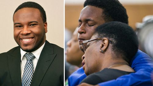 Botham Jean (left) was shot and killed by a neighbour after she said she mistook his apartment for her own. Allison Jean and her son Grant, 15, mourn Botham Jean, Allison's son and Grant's brother during a 2018 prayer service for Jean at the Dallas West Church of Christ in Dallas.