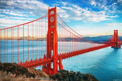 Golden Gate Bridge re-imagined in a Gothic design