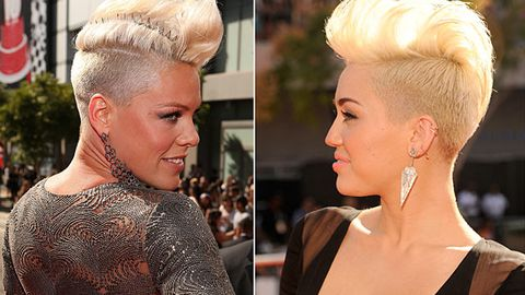 2012 MTV VMAs: 'You stole my hair!' Miley Cyrus channels Pink
