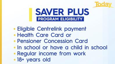 Eligibility criteria for Saver Plus.