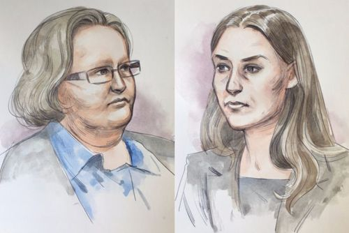 Court sketches of Trudi Lenon and Jemma Lilley.
