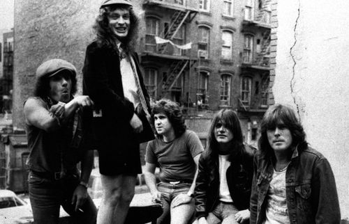 AC/DC's Brian Johnson, Angus Young, Simon Wright, Malcom Young and Cliff Williams. (AAP file image)