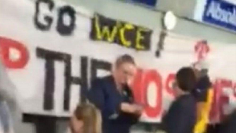 Fans erect offensive banner in AFL derby