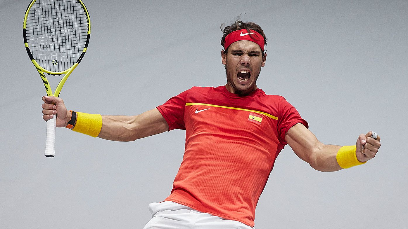 Rafael Nadal celebrates Spain progressing to the Davis Cup semi-finals