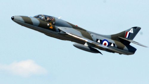 The vintage Hawker Hunter fighter jet just moments before it crashed into the ground at Shoreham air show in England four years ago.