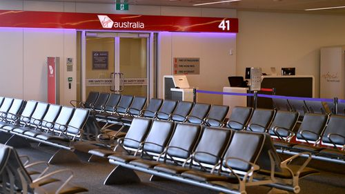 The empty Virgin Australia boarding gates at Sydney Domestic Airport.