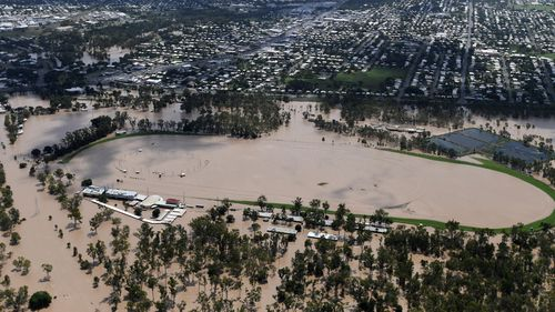 Flooding caused by Cyclone Debbie, which devastated Queensland in 2017.