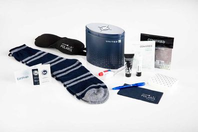 United Airline Polaris Business Class. Travellers receive luxe amenity kits from high-end British brand Cowshed.