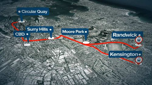 The Light Rail will operate from Circular Quay to both Randwick and Kingsford. (9NEWS)