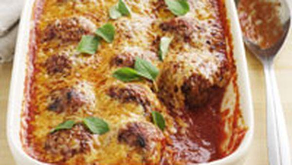 Baked tomato meatballs