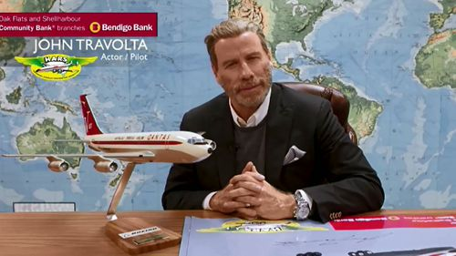 "John Travolta says he ""can't wait"" to arrive at Illawarra Airport."