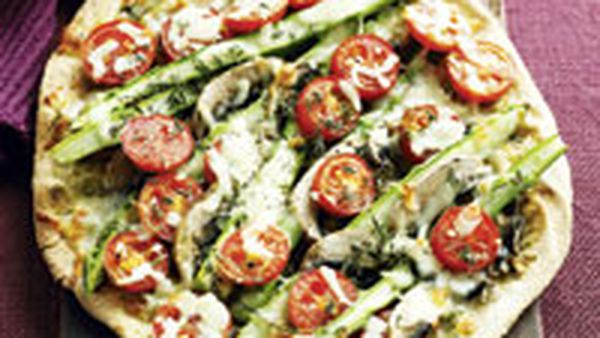 Asparagus, mushroom, tomato and mozzarella pizza
