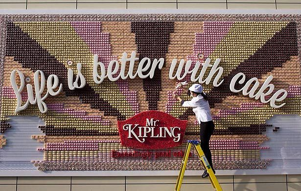 Edible billboard touts virtue of cake
