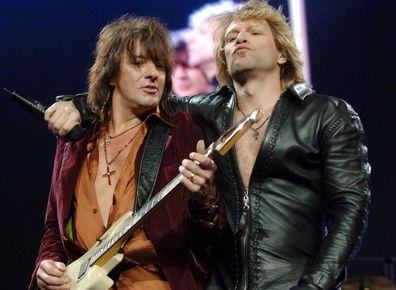 Richie Sambora and Jon Bon Jovi during Bon Jovi in Concert at Madison Square Garden in New York City - November 28, 2005 at Madison Square Garden in New York City, New York, United States.