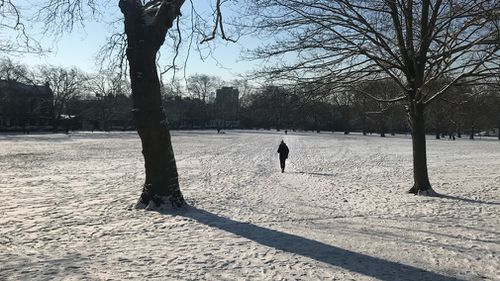 A park in north London was transformed into a winter wonderland. (9NEWS)