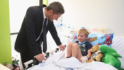 Hanging out and chatting with Rowan and his toys. (Getty)