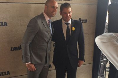 Shane Warne and Chris Judd suit up at the Lavazza tent.<br/><br/>Image: Instagram