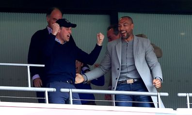Prince William reacts with joy as Aston Villa is promoted to Premier League