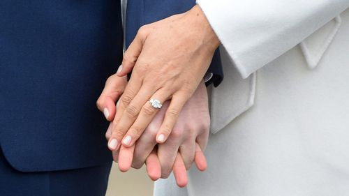 Meghan's engagement ring is made from some of Princess Diana's jewellery. (PA/AAP)