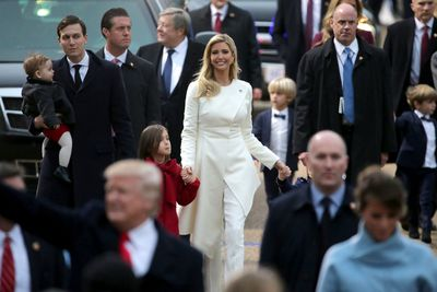 Ivanka's pantsuit was something of an unusual choice given that it was Hillary Clinton's outfit of choice throughout the campaign. The soft white was perfect on her however.