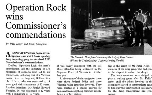 """A story in The Sydney Morning Herald about Operation Rock and the arrest of  corrupt policeman Sergeant William """"Dingy"""" Harris"""