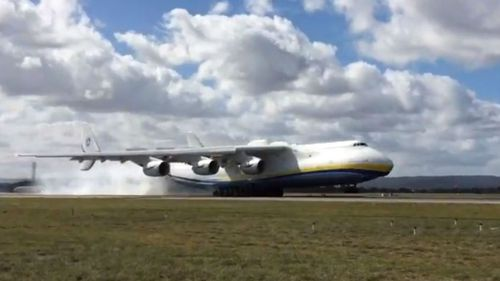 The Antonov touched down in Perth earlier today. (Twitter/Elly Cormack)