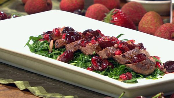 Smoked duck breast with cherry and pomegranate salsa