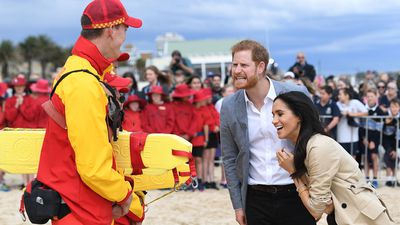 A shared joke at the beach for Royals