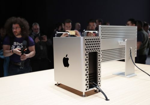 Journalists photograph the new Apple Mac Pro at the end of the keynote address at the Apple World Wide Developers Conference at the McEnery Convention Center in San Jose, California, USA, 3 June 2019