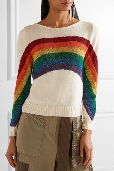 "Marc Jacobs rainbow sweater, approx. $386 at <a href=""https://www.net-a-porter.com/au/en/product/889938/Marc_Jacobs/metallic-intarsia-cotton-sweater"" target=""_blank"" draggable=""false"">Net-a-porter</a><br>"
