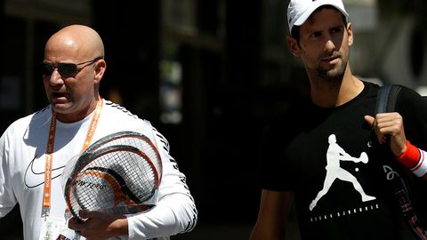 Andre Agassi (left) with Novak Djokovic.
