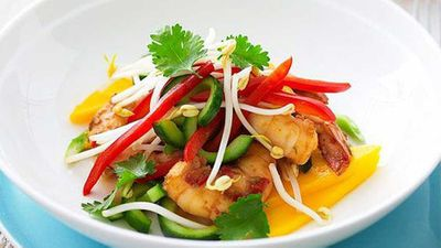 "Recipe: <a href=""https://kitchen.nine.com.au/2016/05/16/19/32/mango-and-prawn-salad"" target=""_top"">Mango and prawn salad</a>"