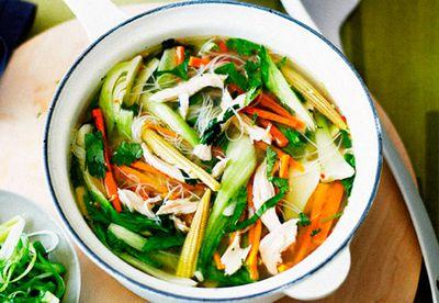 "Recipe:<a href=""/food/8172864/chicken-noodle-soup"" target=""_top"" draggable=""false"">Chicken noodle soup<br /> </a>"