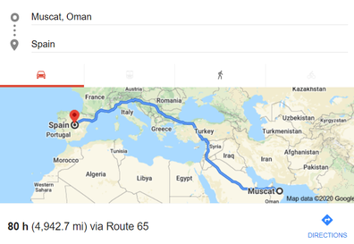 Google Maps Muscat to Spain