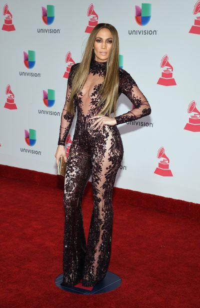 Jennifer Lopez wearingZuhair Murad Couture at the 17th Annual Latin Grammy Awards in Las Vegas, November, 2016