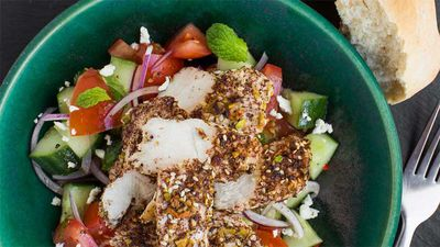 "Recipe: <a href=""http://kitchen.nine.com.au/2017/01/19/14/30/dukkah-chicken-with-hummus-and-feta-salad"" target=""_top"">Dukkah chicken with hummus and feta salad</a>"